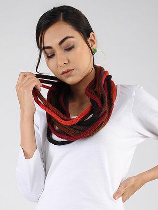 Red-Black Hand Knitted Wool Blend Muffler