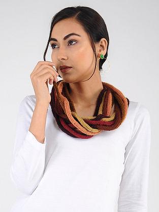 Peach-Brown Hand Knitted Wool Blend Muffler