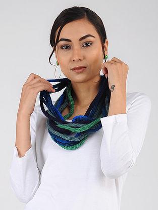 Green-Blue Hand Knitted Wool Blend Muffler