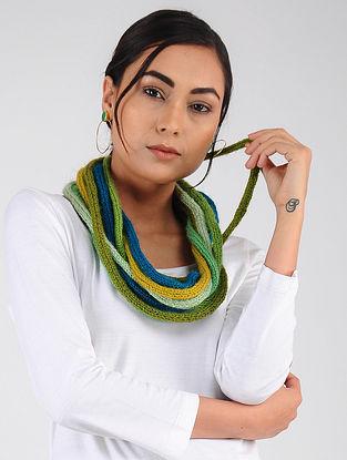 Green-Yellow Hand Knitted Wool Blend Muffler