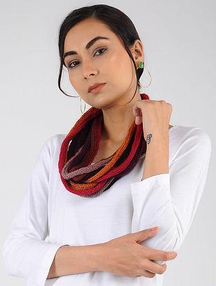 Red-Orange Hand Knitted Wool Blend Muffler
