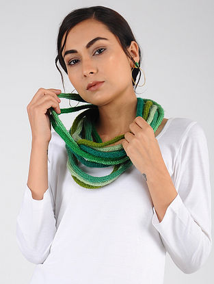 Green Hand Knitted Wool Blend Muffler