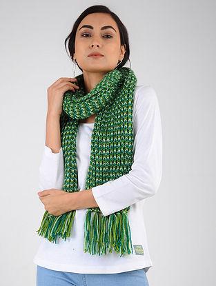 Green-Ivory Hand Knitted Wool Blend Muffler