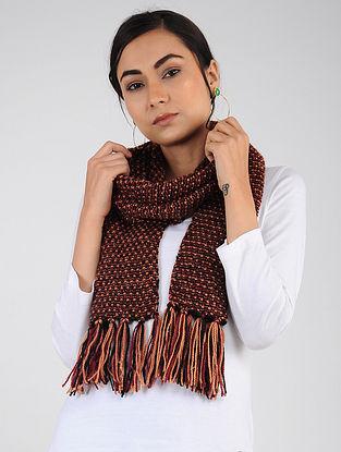 Red-Peach Hand Knitted Wool Blend Muffler