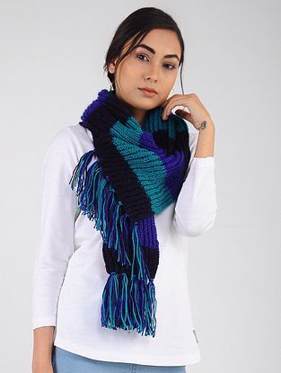 Blue-Black Hand Knitted Wool Blend Muffler