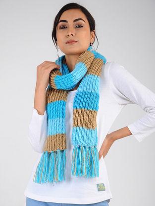 Blue-Beige Hand Knitted Wool Blend Muffler