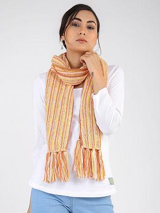 Yellow-Ivory Hand Knitted Wool Blend Muffler