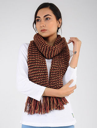 Burgundy-Red Hand Knitted Wool Blend Muffler