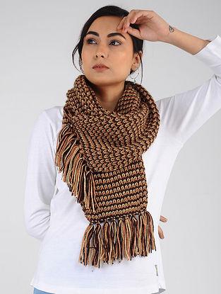 Burgundy-Yellow Hand Knitted Wool Blend Muffler