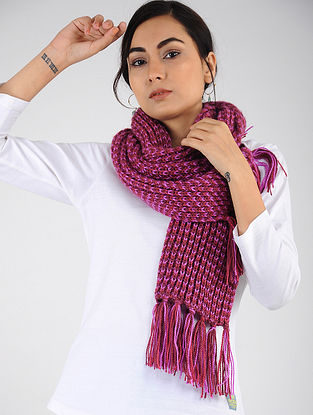 Pink Hand Knitted Wool Blend Muffler
