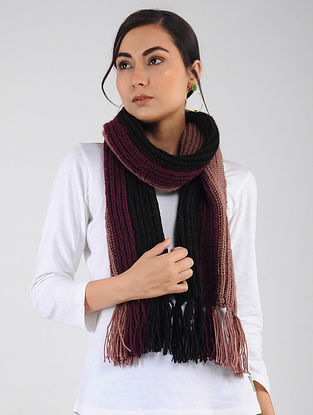 Maroon-Black Hand Knitted Wool Blend Muffler