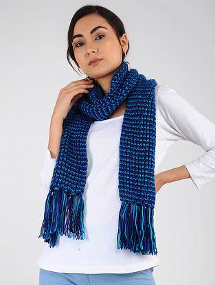Blue Hand Knitted Wool Blend Muffler