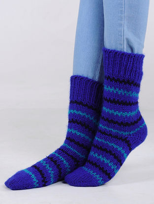 Blue-Black Hand Knitted Wool Blend Socks
