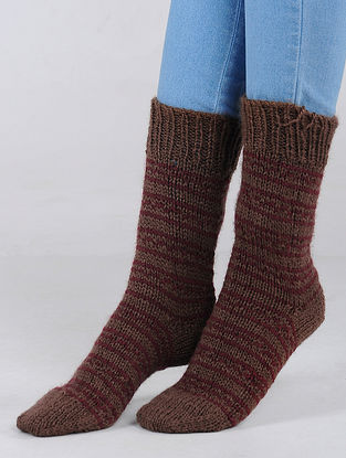 Brown-Red Hand Knitted Wool Blend Socks