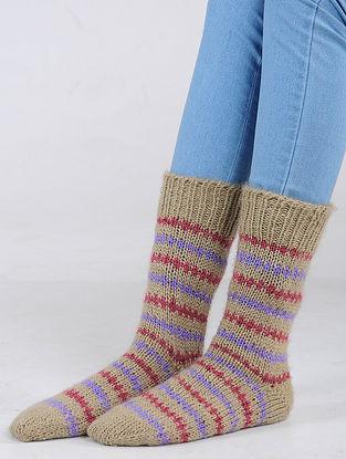 Beige-Red Hand Knitted Wool Blend Socks
