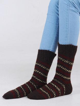 Burgundy-Red Hand Knitted Wool Blend Socks