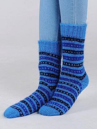 Blue Hand Knitted Wool Blend Socks