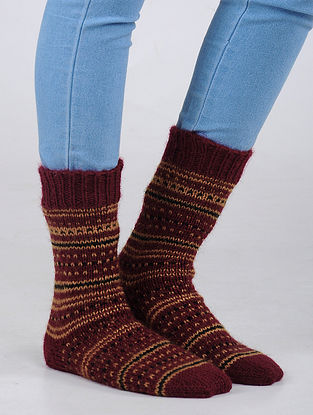 Red-Peach Hand Knitted Wool Blend Socks