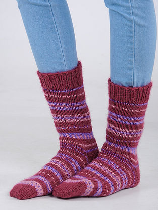 Red-Blue Hand Knitted Wool Blend Socks