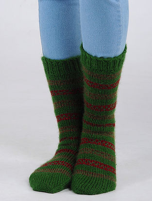 Green-Red Hand Knitted Wool Blend Socks