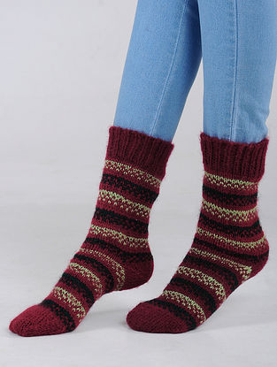 Pink-Ivory Hand Knitted Wool Blend Socks