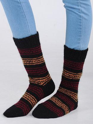 Black-Pink Hand Knitted Wool Blend Socks