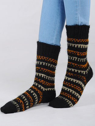 Black-Orange Hand Knitted Wool Blend Socks
