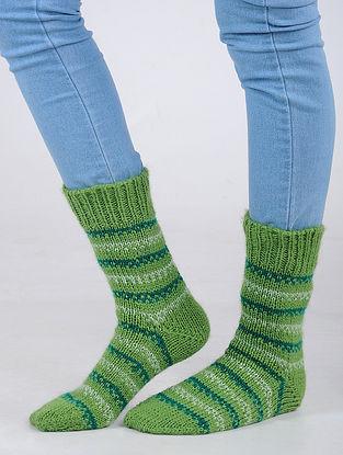 Green Hand Knitted Wool Blend Socks