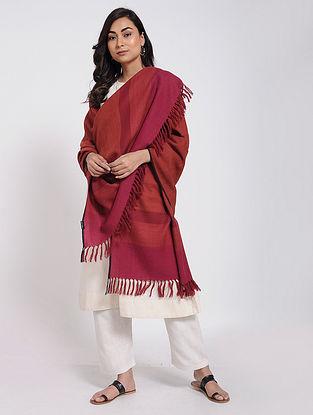 Red-Pink Merino Wool Shawl