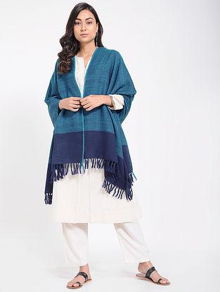 Blue Merino Wool Shawl