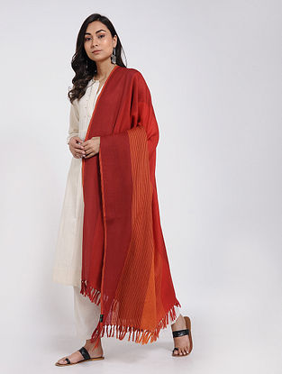 Red-Orange Merino Wool Shawl
