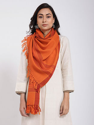 Orange Merino Wool Stole