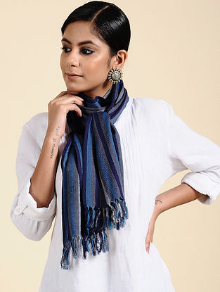 Blue-Grey Handwoven Merino Wool Scarf