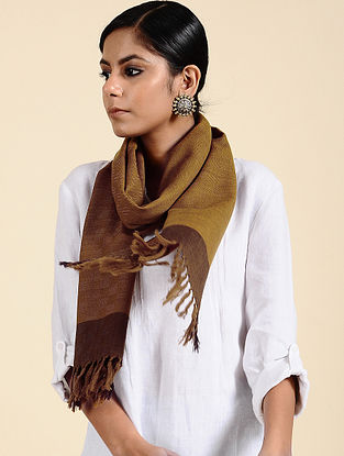 Brown Handwoven Merino Wool Scarf