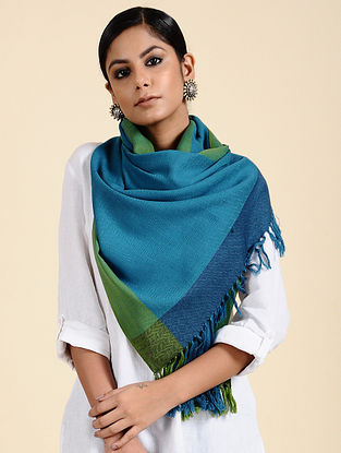 Blue-Green Handwoven Merino Wool Stole
