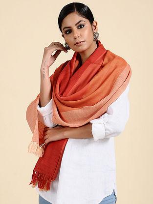 Pink-Peach Handwoven Merino Wool Stole