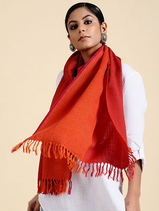 Orange-Pink Handwoven Merino Wool Stole