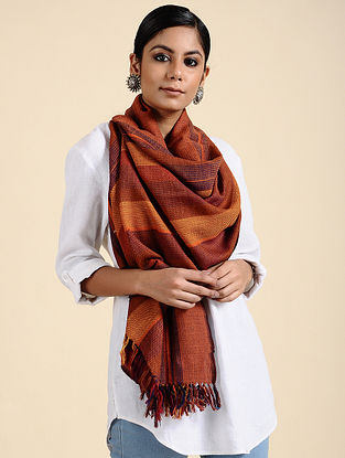 Orange-Red Handwoven Merino Wool Stole