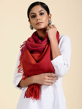 Red Handwoven Merino Wool Stole