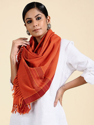 Orange Handwoven Merino Wool Stole