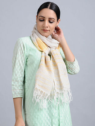 Ivory-Yellow Handwoven Linen Stole
