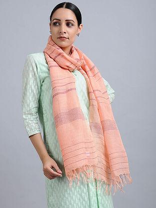 Peach Handwoven Linen Stole