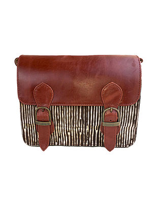 Tan-Brown Dabu Hand-Printed Cotton and Leather Sling Bag