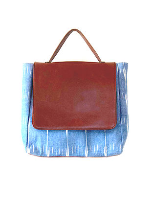 Tan-Blue Ikat Hand-Printed Cotton and Leather Backpack