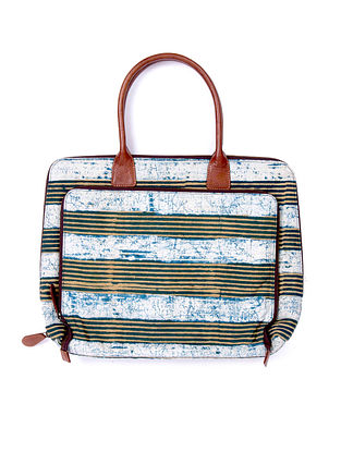 Multicolored Dabu Hand-Printed Cotton and Leather Laptop Bag