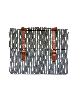 Tan-Grey Ikat Hand-Printed Cotton and Leather Laptop Sleeve