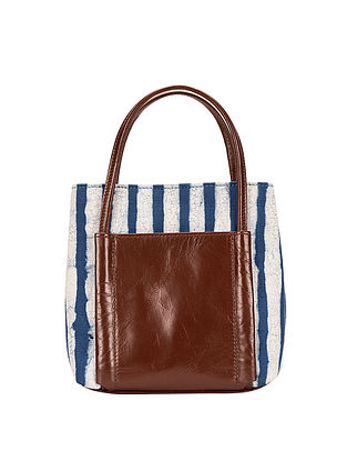 Tan-Blue Dabu Hand-Printed Cotton and Leather Sling Bag cum Handbag