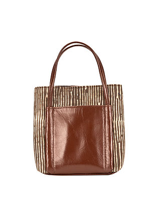 Tan-Brown Dabu Hand-Printed Cotton and Leather Sling Bag cum Handbag