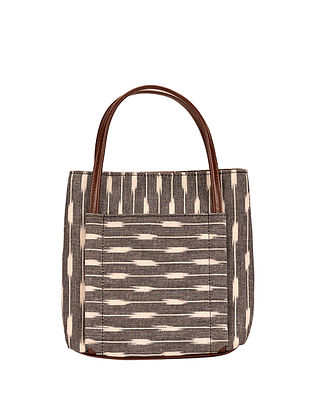 Tan-Grey Ikat Weave Cotton and Leather Sling Bag cum Handbag