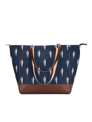 Tan-Blue Ikat Weave Cotton and Leather Tote